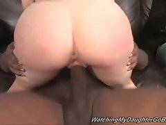 Young white slutie Tatianna Kush gets her hole furiously drilled by black guy.