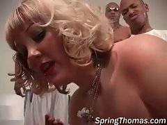 White sluts are sucking massive black dicks l...
