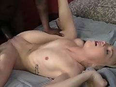 Naughty young blonde encourages tough black g...