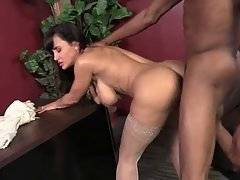 Horny black guy shoves his big boner inside white milf`s wet hole.