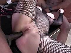 Cock hungry blonde is fond of getting drilled by four big black studs.