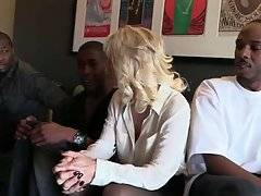 Lovely white lady is ready to make a deal with three black studs.