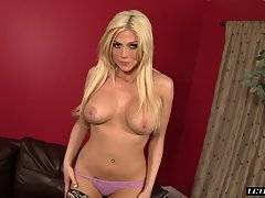This blonde hottie starts to slowly take off her dress and undies as she shows off her nice set of tits and tight pink pussy. Her man then enters the room and starts to eat her ass and twat from behind. She then gets down and starts to suck on his big ebo