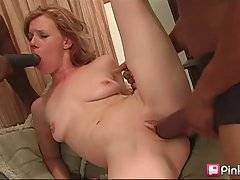 White Slutie Tastes Cum After Great Threesome 2