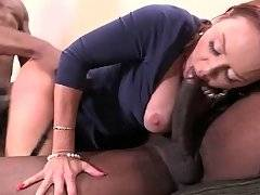 Horny black man and his son attack one slutty white lady.