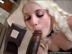 Sexy blond slutie readily tastes massive black dong.