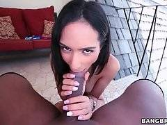 Slutty girl warms her black lover up with awesome blowjob.
