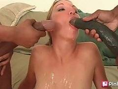 Slutie enjoys threesome with two black men with huge cocks.