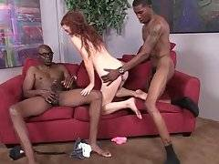 Horny black father and son attack attractive skinny white girl.