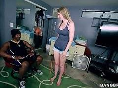 Adorable white slutie is more than ready to taste big black cock.